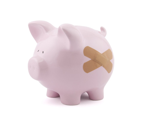 Piggy Bank with a bandaid